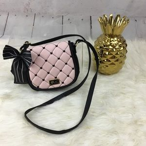 Betsey Johnson Pink & Black Quilted Crossbody Bag